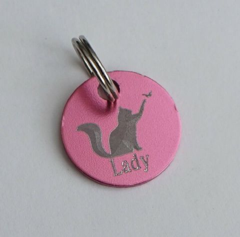 BEAUTIFUL CAT TAG FEATURING 3D EFFECT CAT & BUTTERFLY PERSONALISED FRONT & BACK